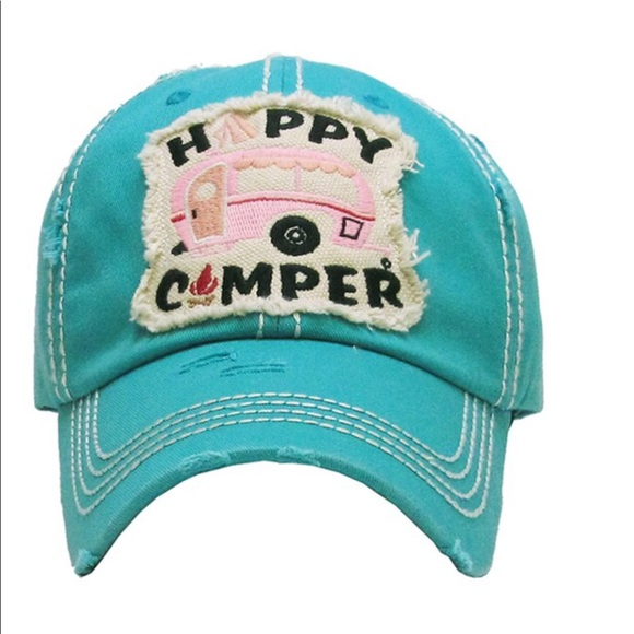 Happy Camper Ball Cap Trucker Hat SUPER CUTE NEW 9aedf17e5d96